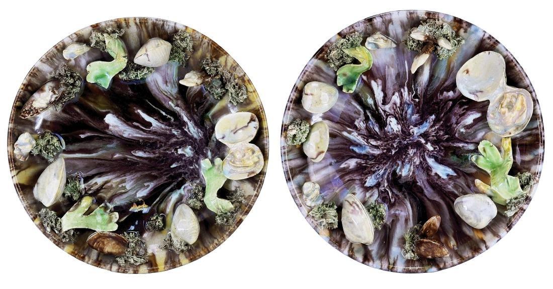Pair of Raphael Bordalo Majolica Palissy Style