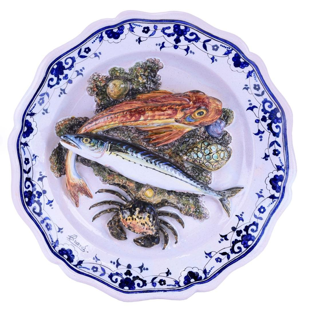 """Rare Leon Brard Palissy """"Fishes""""™ Wall Plaque,"""