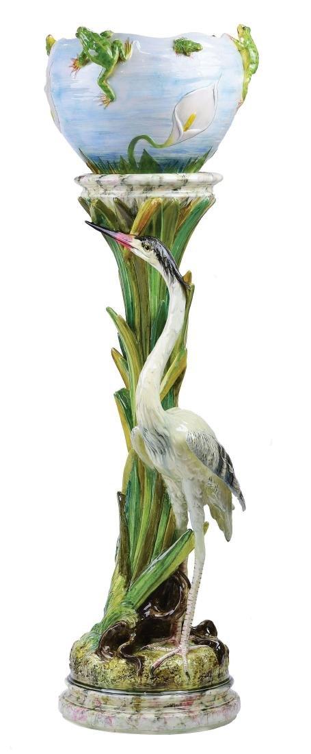 Rare Jerome Massier Majolica Heron & Frogs
