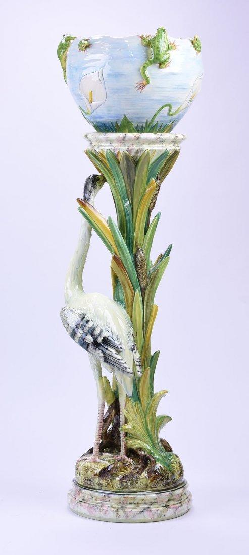 Rare Jerome Massier Majolica Heron & Frogs - 2