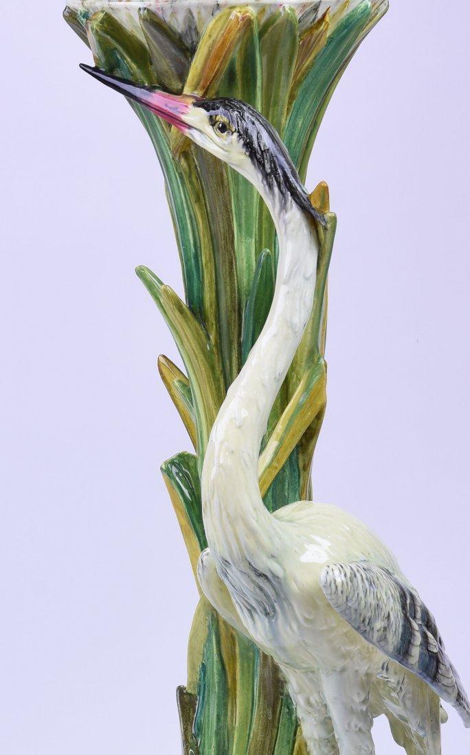 Rare Jerome Massier Majolica Heron & Frogs - 3