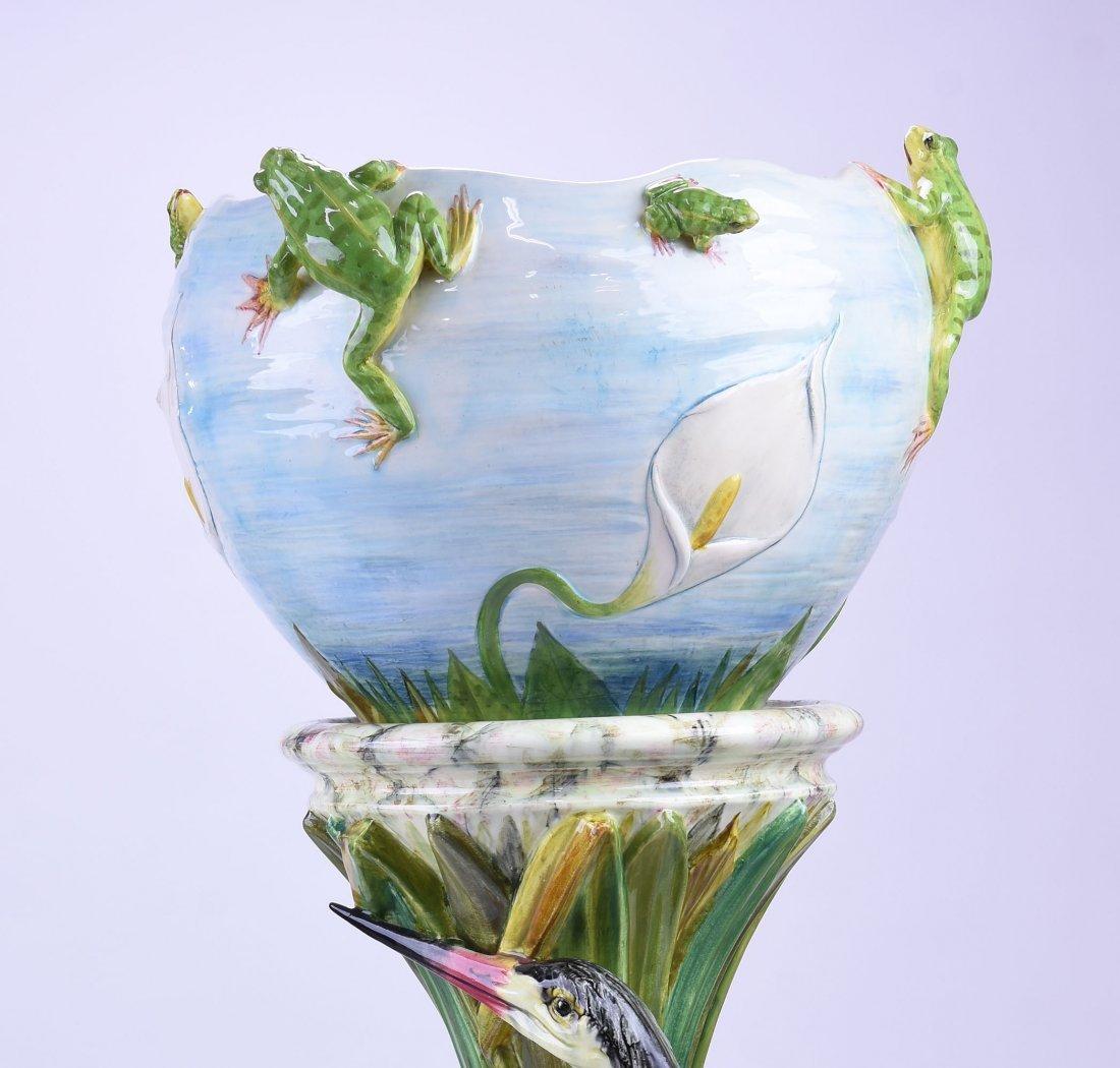 Rare Jerome Massier Majolica Heron & Frogs - 4