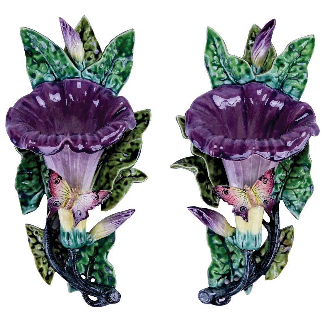 Pair of Fives Lille Majolica Convolvulus Wall