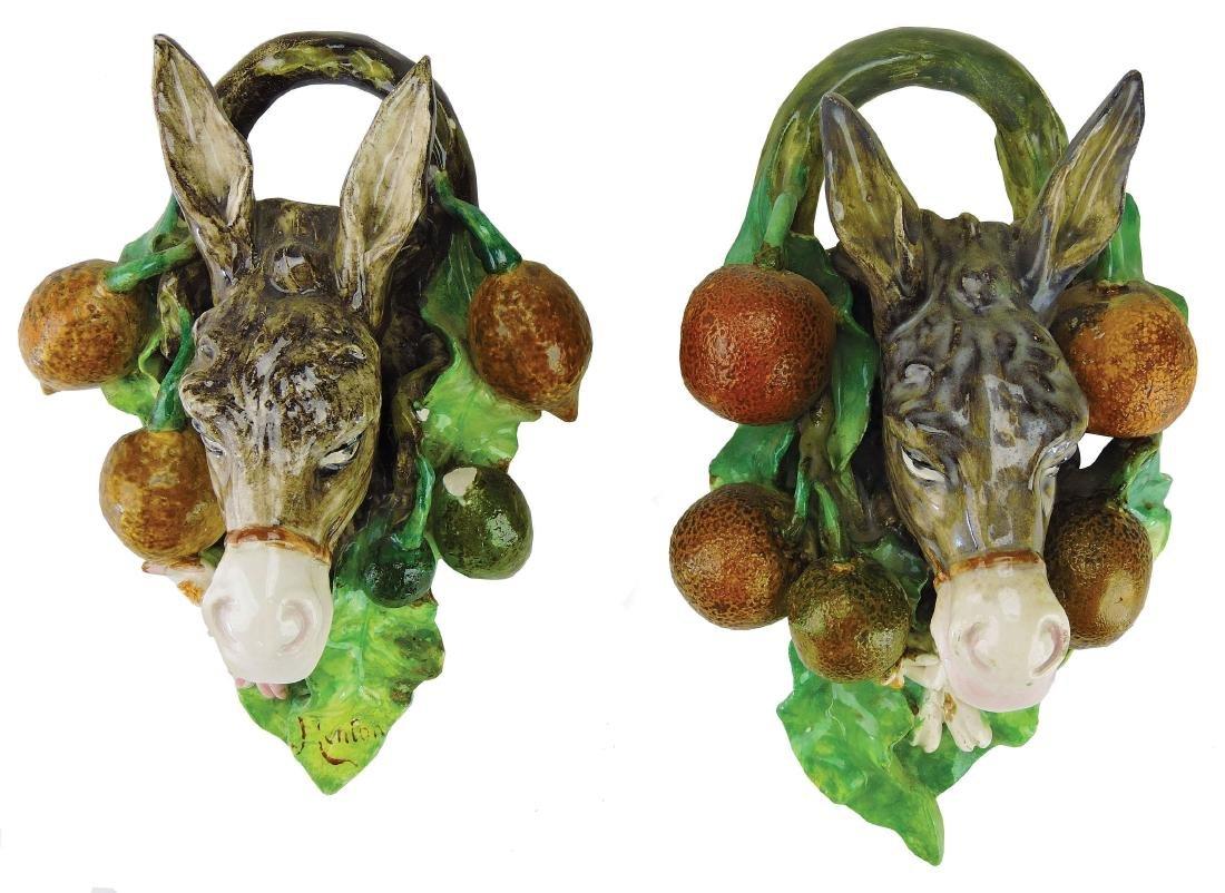 Rare Pair of Menton Majolica Donkey Wall Appliques