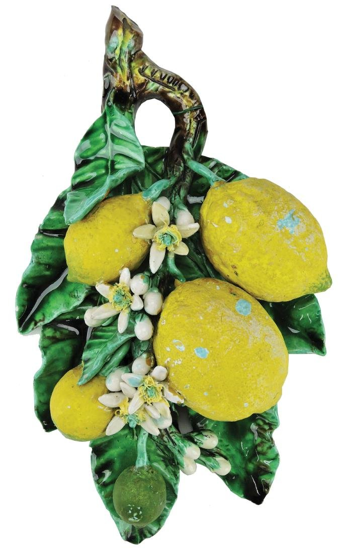 Menton Majolica Lemons Wall Applique c.1890,