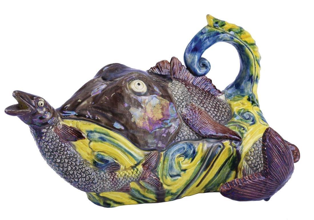 Rare Portuguese Majolica Fish Teapot & Cover