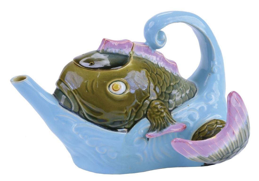 Brownfield Majolica Fish Teapot & Cover c.1875,