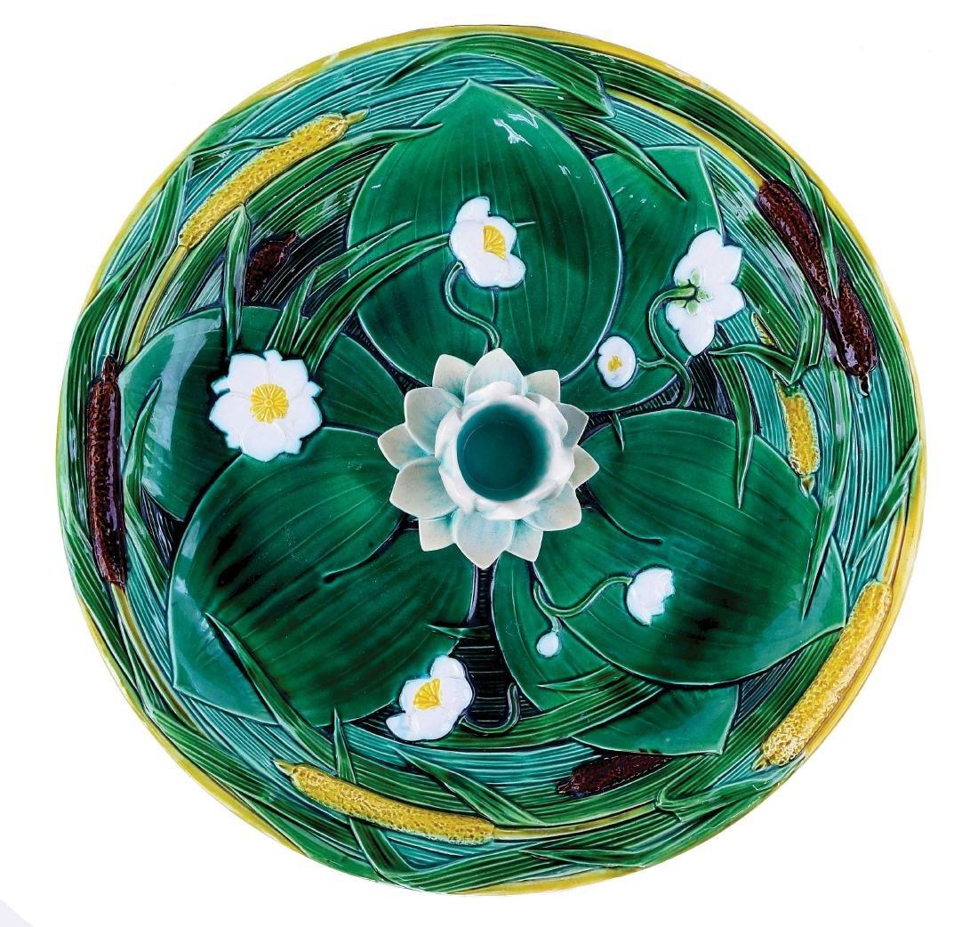 Minton Majolica circular lily serving tray c.1875,