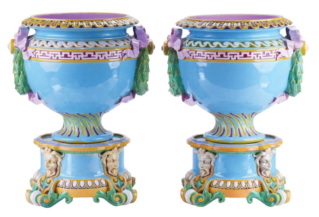 Pair of Matched Minton Majolica Jardiniere on