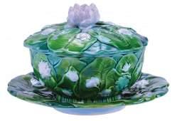 Very Rare Minton Majolica Three Piece Pond Lily