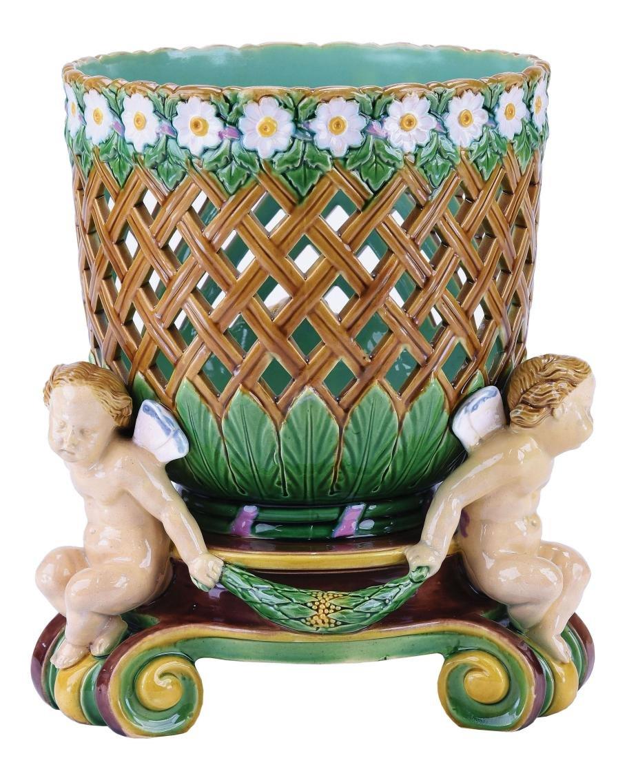 Very Rare Minton Majolica Flower Basket c.1865,