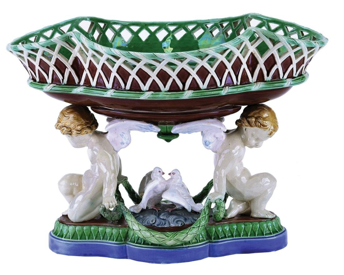 Minton Majolica Cherubs and Dove Bowl c.1860,