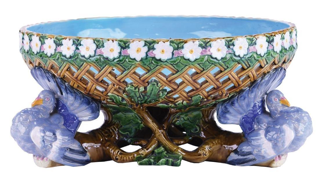 Minton Majolica Pigeon Pierced Centrepiece Bowl