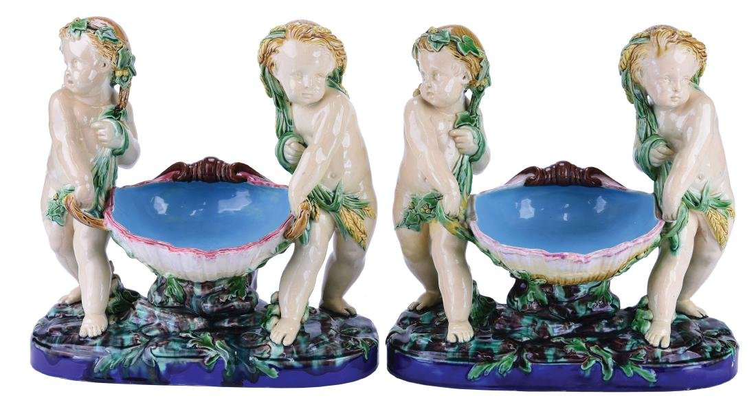 "Pair of Minton Majolica ""Shell Carriers""™ c.1860"