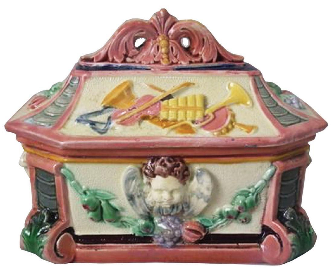 Copeland Majolica Renaissance Revival Box & Cover