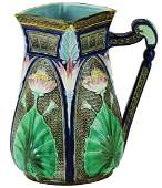 Copeland Majolica Lotus Pitcher in the Egyptian
