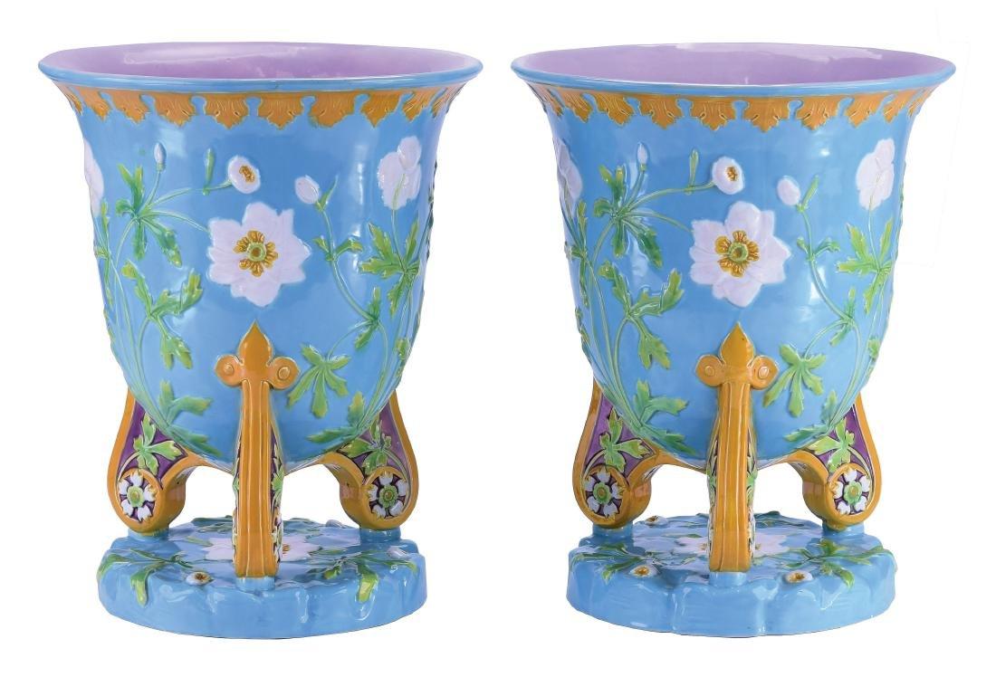 Pair of Minton Majolica Bell Jardinieres c.1860