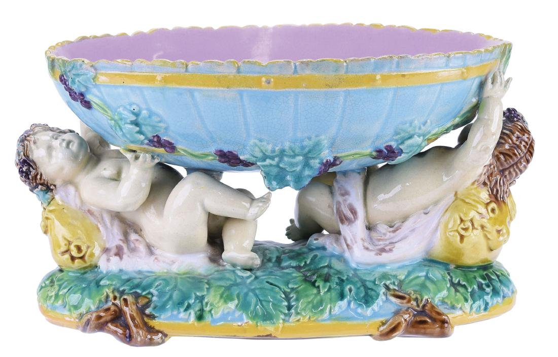 George Jones Majolica Putto Bon Bon Dish c.1875,