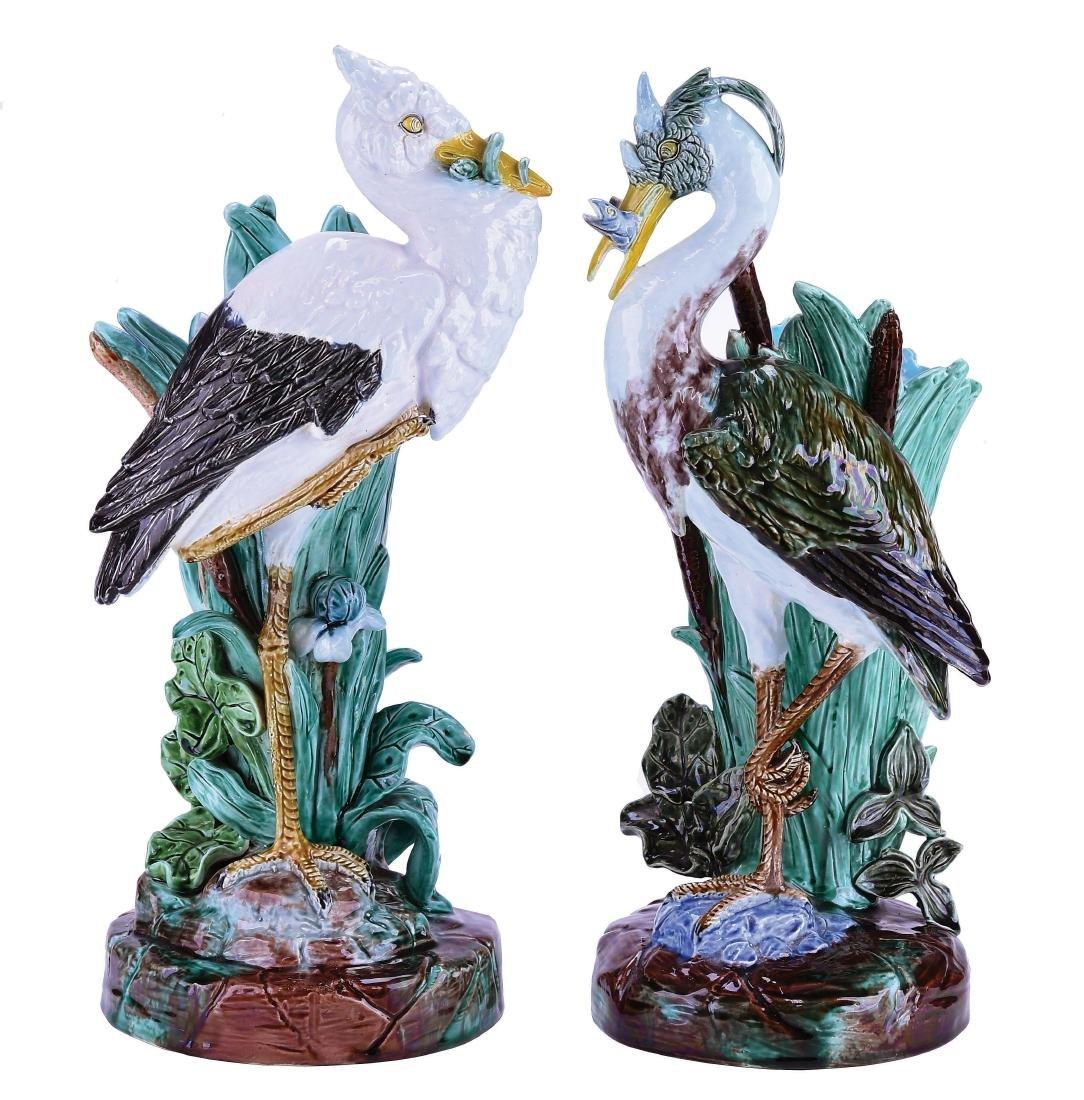 Rare Pair of Joseph Holdcroft Heron & Stork Mantle