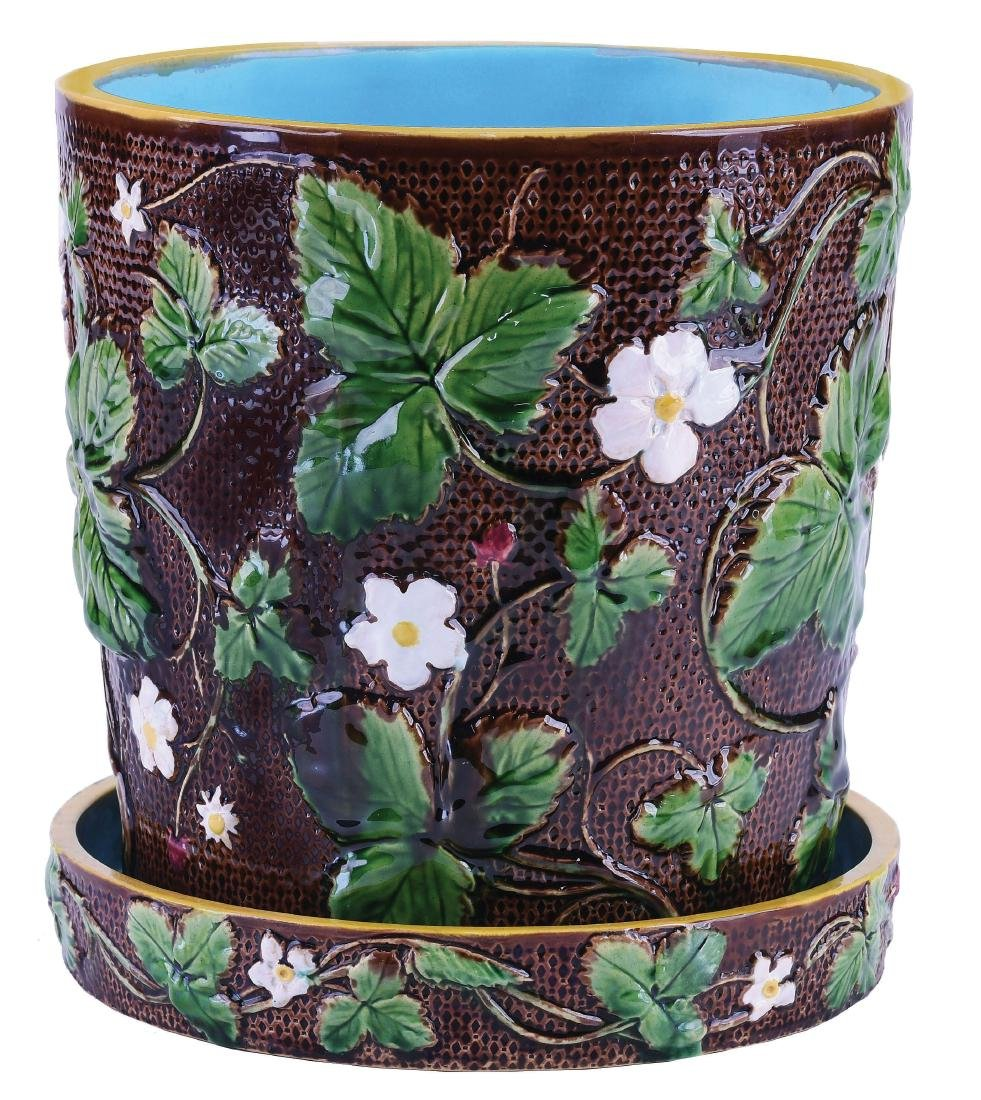 Minton Majolica Strawberry Plant Cachepot on Stand