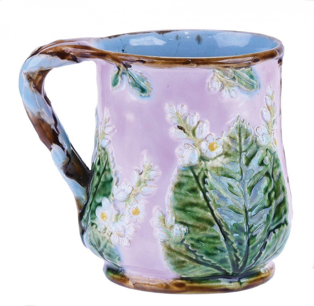 Rare George Jones Majolica Chestnut Mug c.1875,