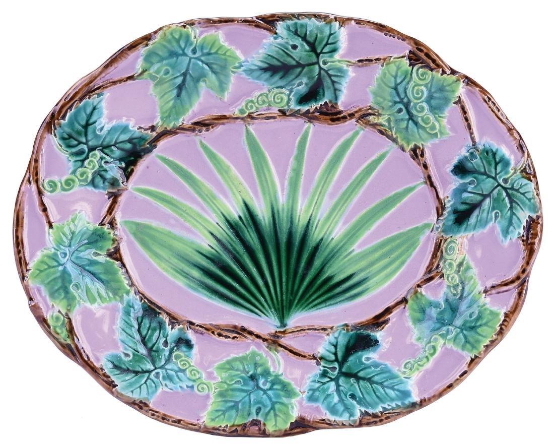 Very Rare George Jones Majolica Palm Dessert Plate