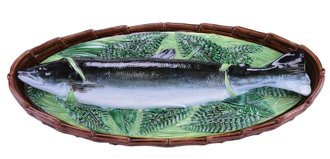 George Jones Majolica Salmon Tureen c.1875,