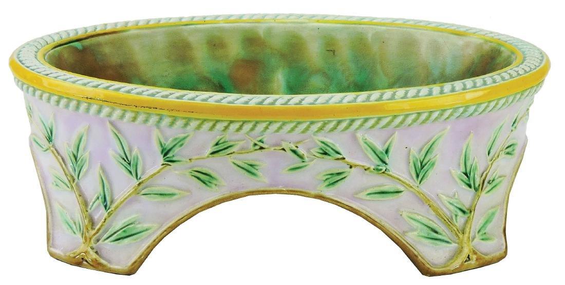 George Jones Majolica Dog Bowl C.1875, the oval