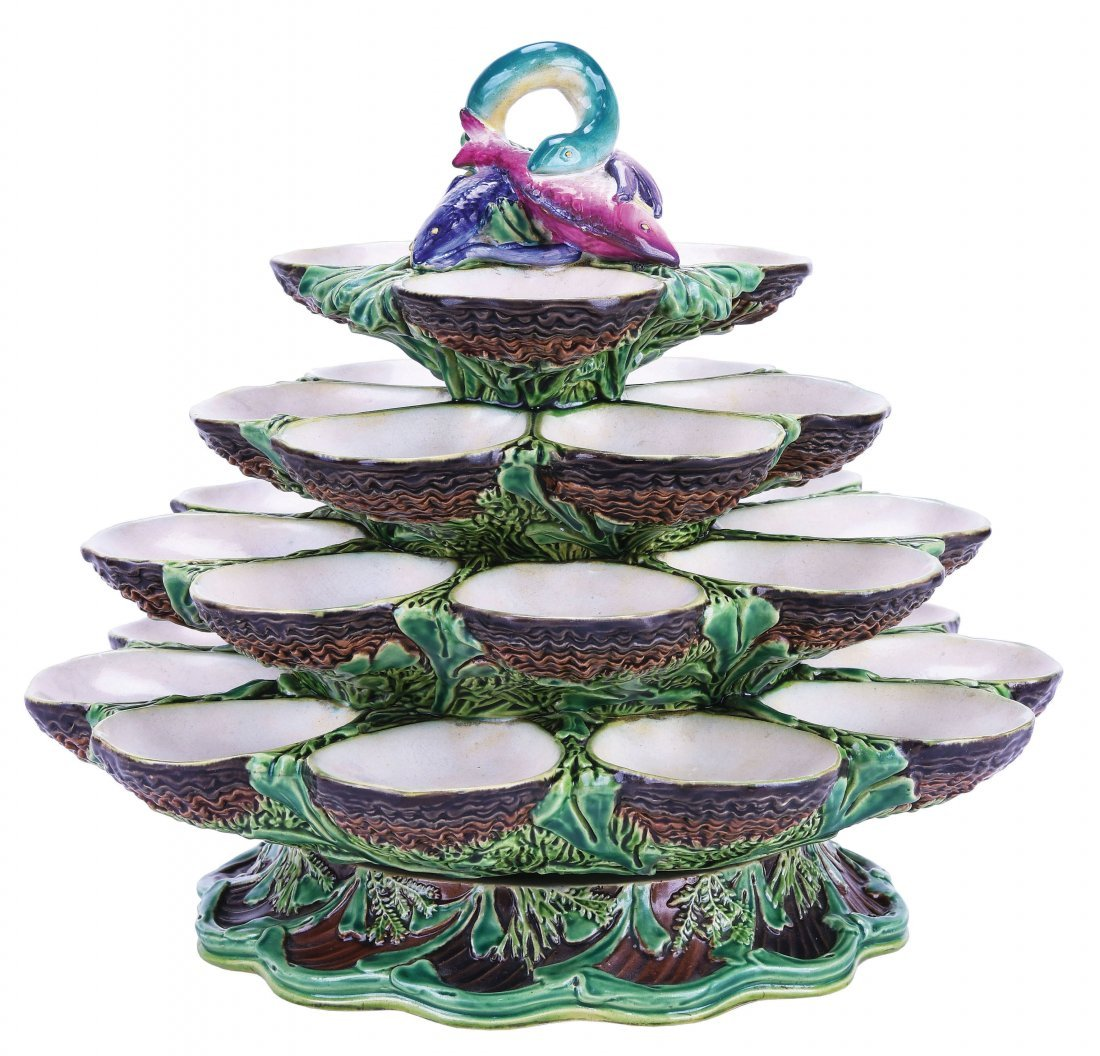 Minton Majolica Four Tiered Revolving Oyster Stand