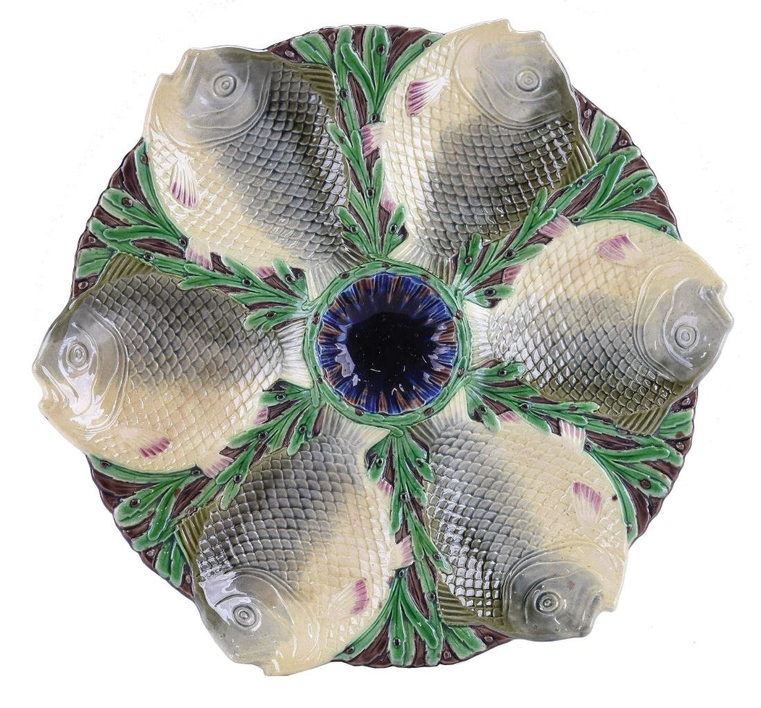 Rare Minton Majolica Six Well fish Oyster Plate