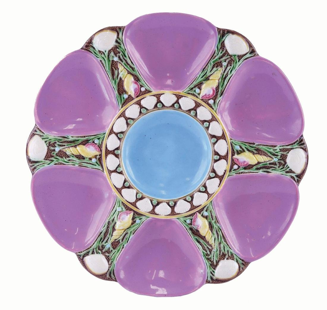 Minton Majolica Six Well Pink Oyster Plate c.1875