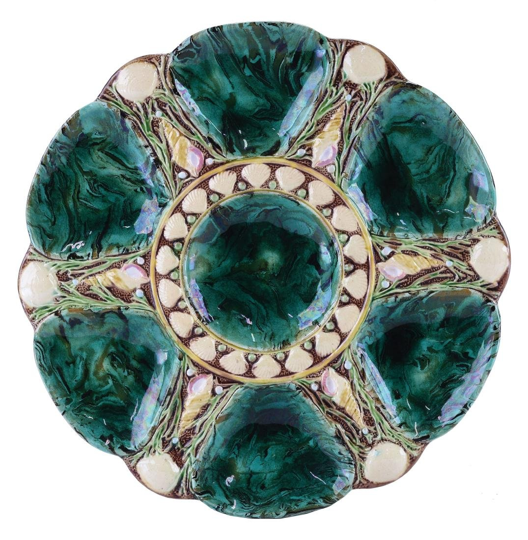 Minton Majolica Six Well Malachite Oyster Plate