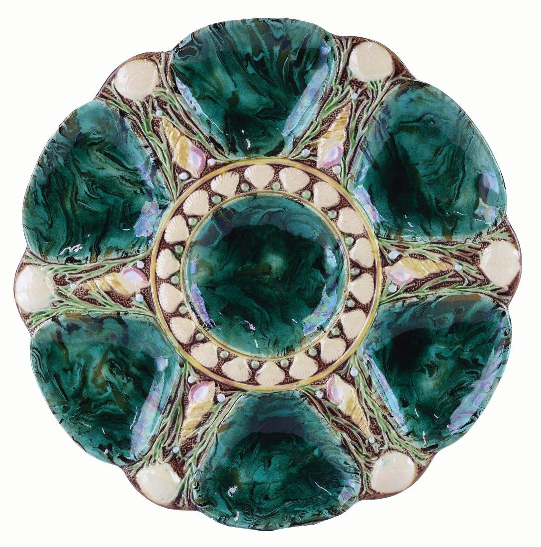 Minton Majolica Six Well Mottled Oyster Plate