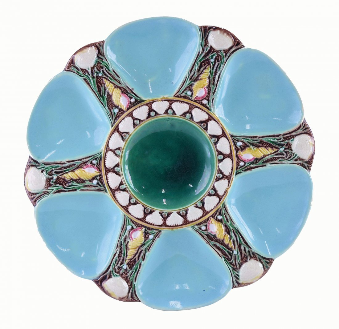Minton Majolica Six Well Celadon Oyster Plate
