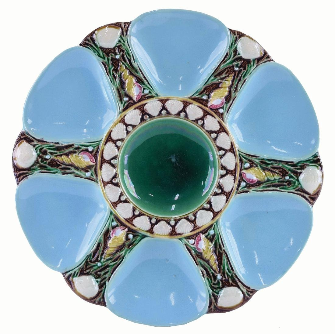 Minton Majolica Six Well Turquoise Oyster Plate