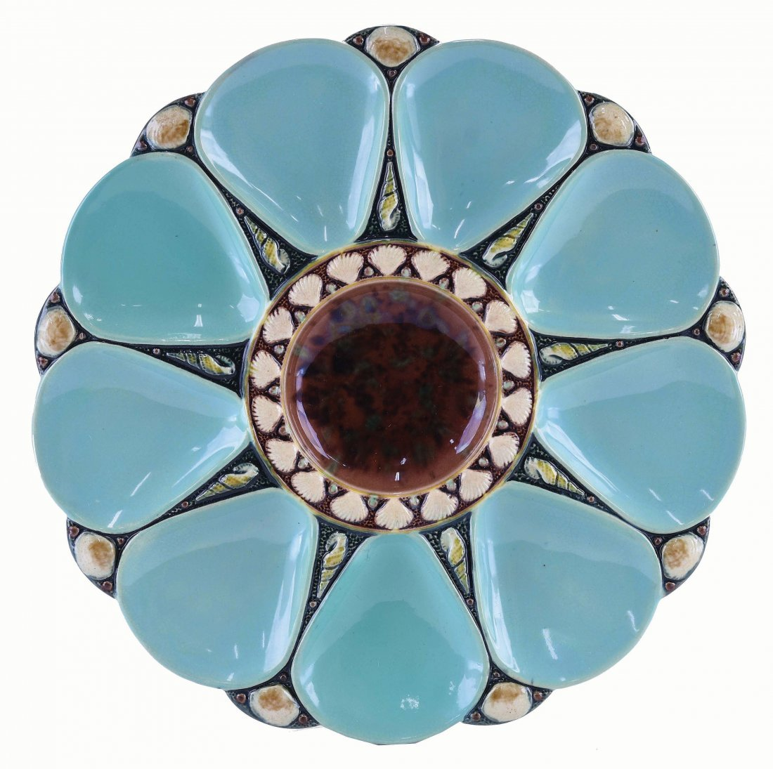 Minton Majolica Nine Well Celadon Oyster Plate