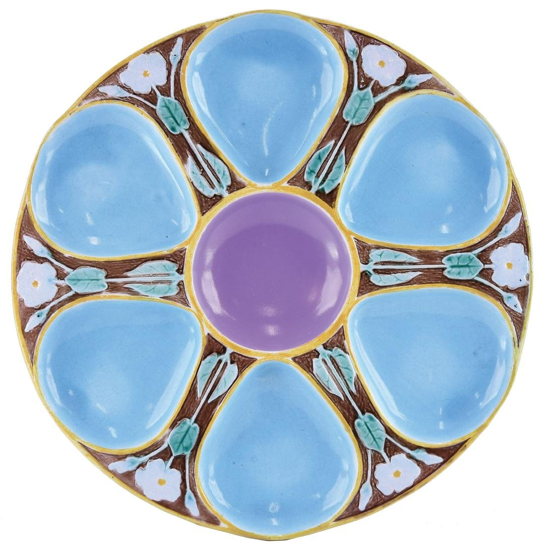 Holdcroft Majolica Six Well Oyster Plate c.1875,