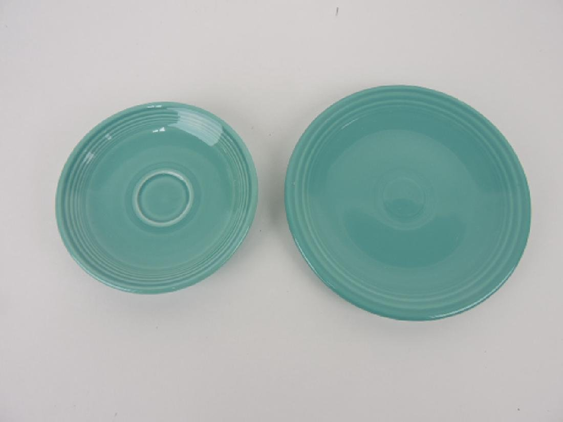 """Fiesta Post 86 turquoise 6"""" plate and AD"""
