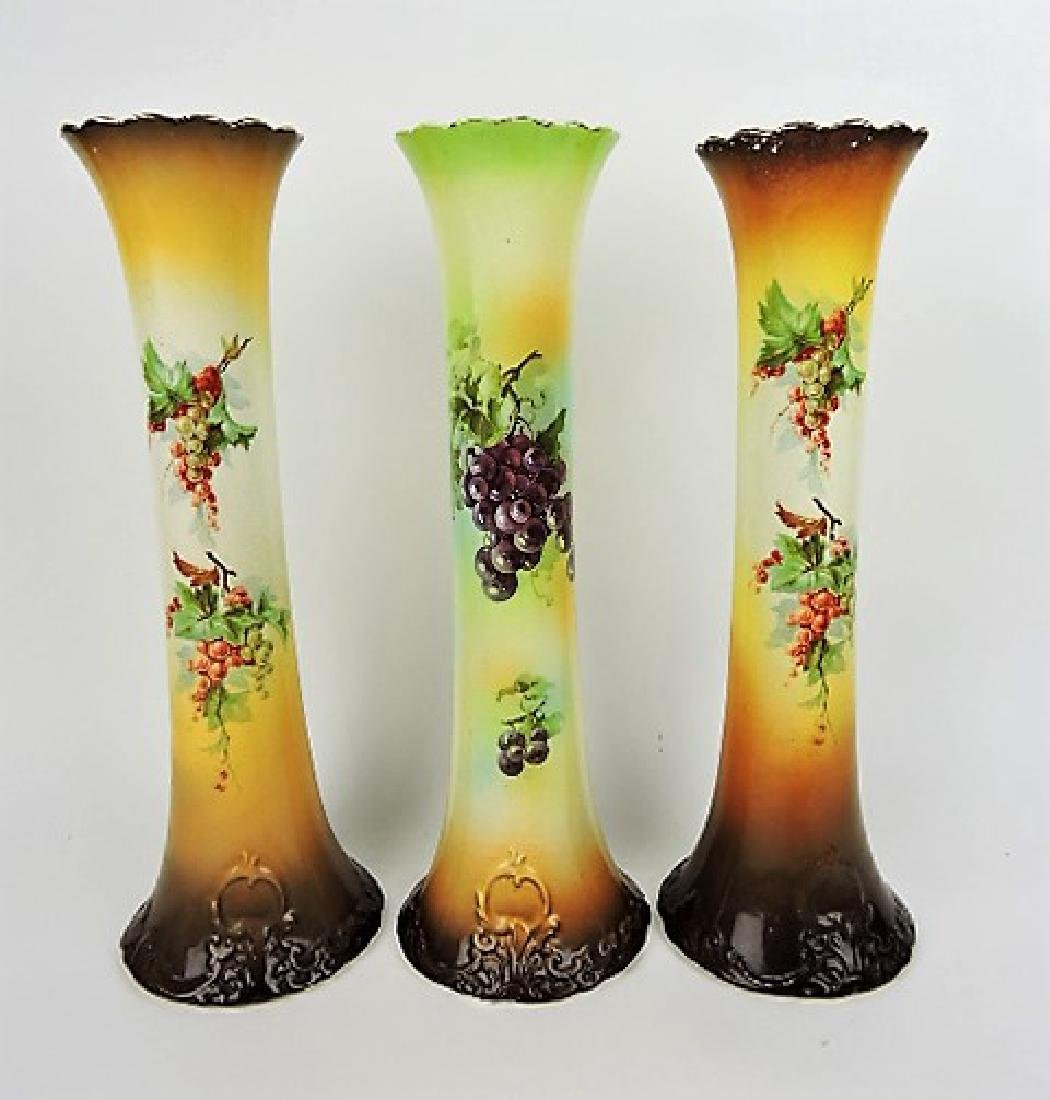 "Laughlin Art China lot of 3 - 15 1/2"" vases,"