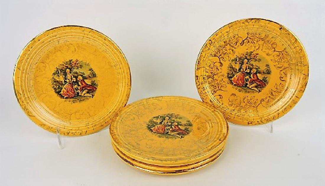 """Fiesta yellow set of 6 - 7"""" plates with"""