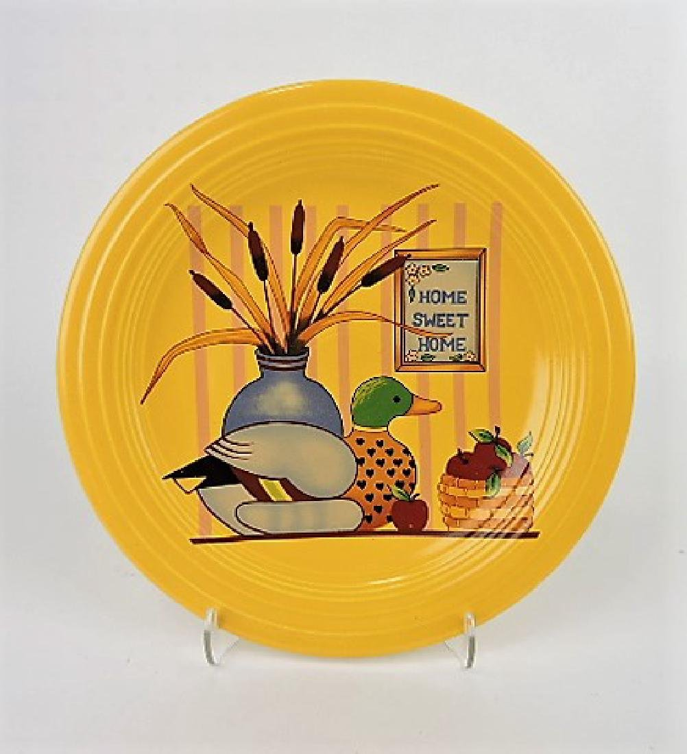 """Fiesta yellow 10"""" plate with """"Home Sweet"""