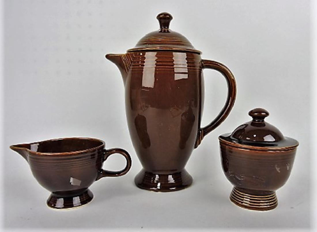 Fiesta Amberstone coffee pot and cream/