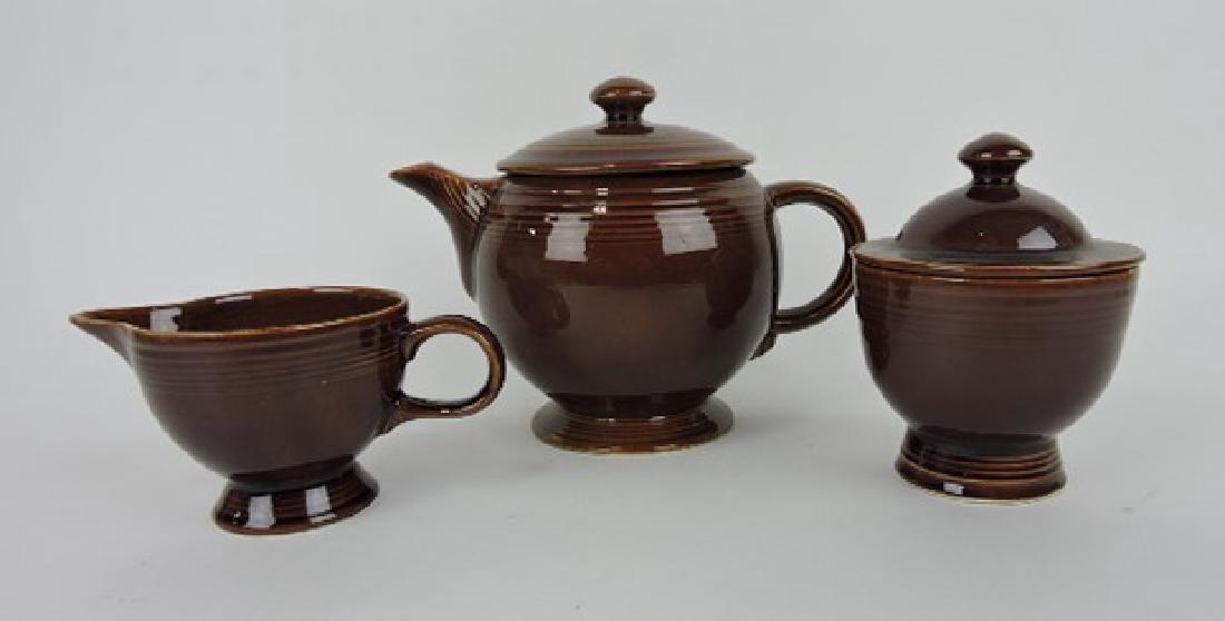 Fiesta Amberstone teapot and cream/