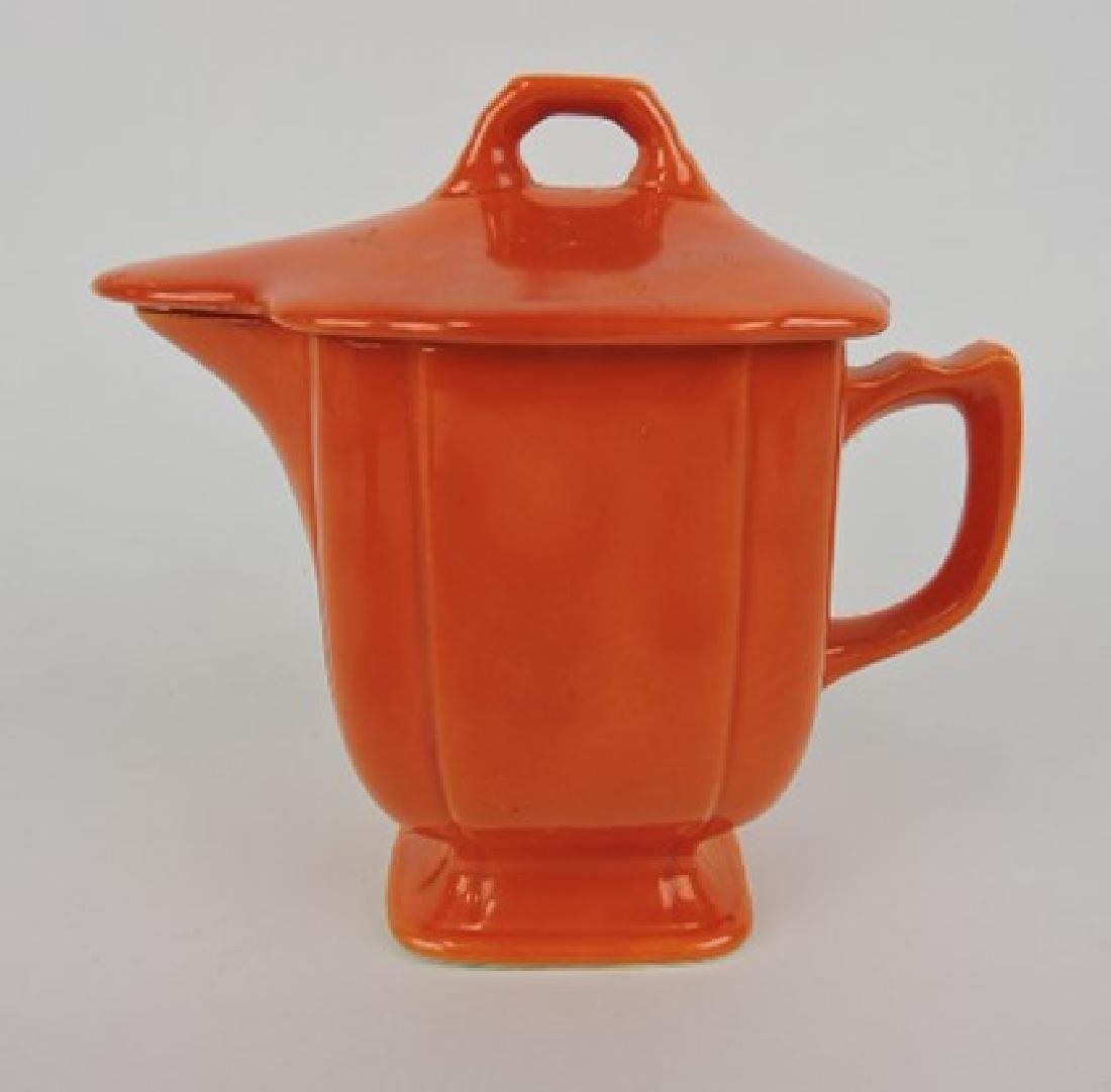 Riviera red syrup pitcher with lid