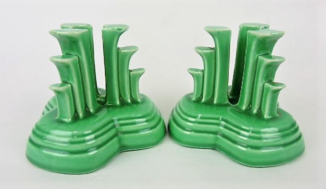 Fiesta tripod candle holders, pair, green