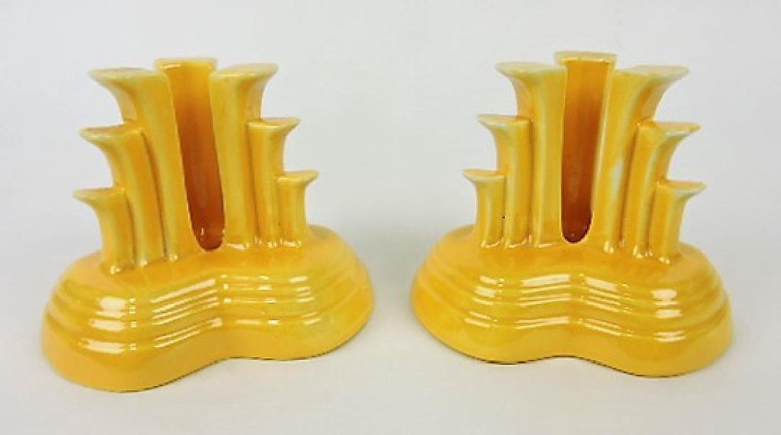 Fiesta tripod candle holders, pair, yellow