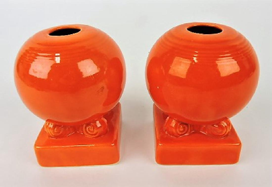Fiesta bulb candle holders, pair, red
