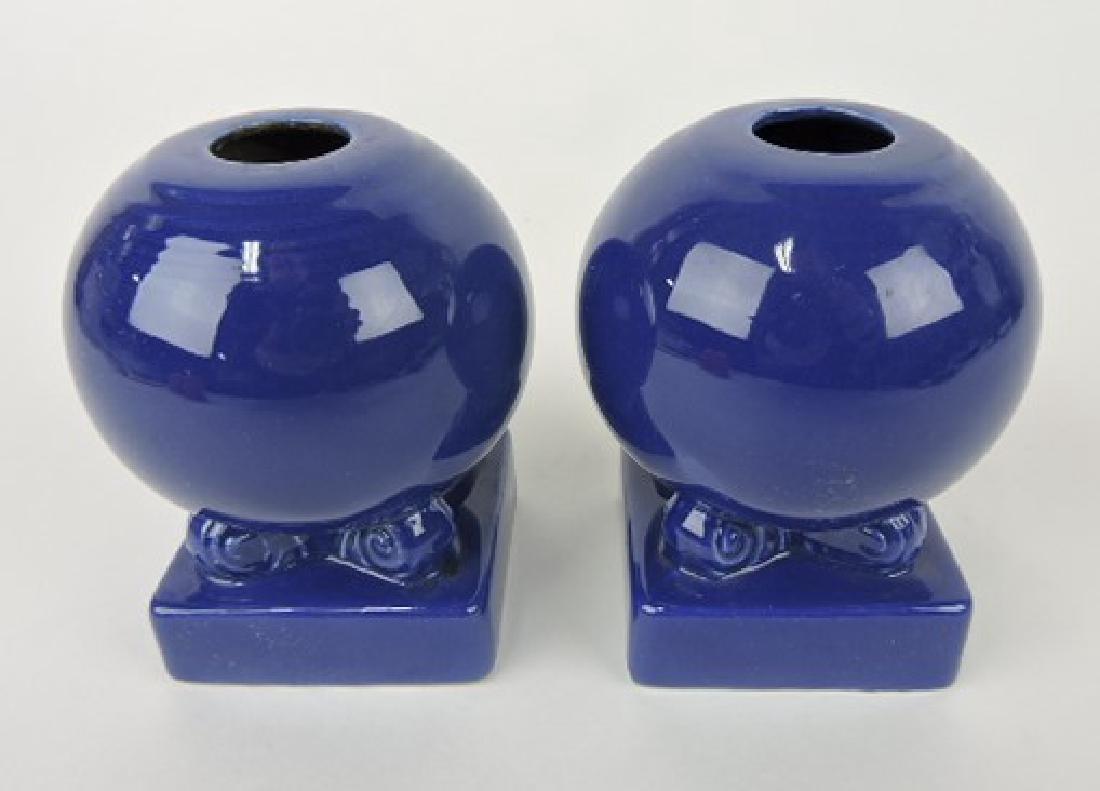 Fiesta bulb candle holders, pair, cobalt