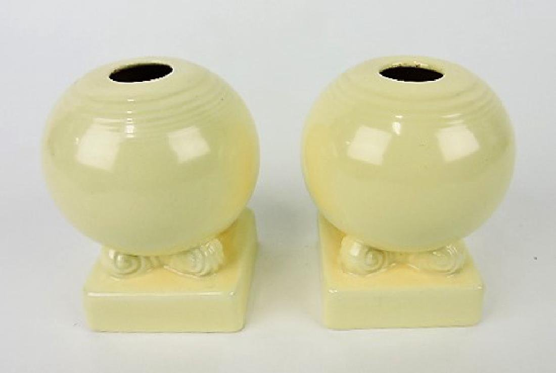 Fiesta bulb candle holders, pair, ivory