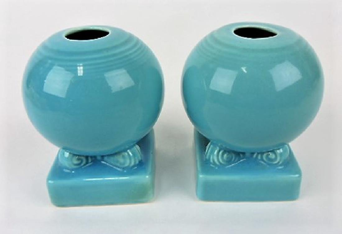 Fiesta bulb candle holders, pair, turquoise